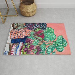 Cluster of Houseplants and Proteas on Pink Still Life Painting Rug