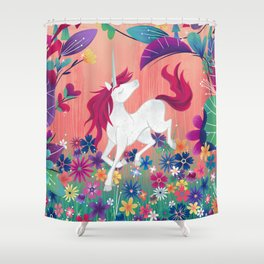 Floral Frolic Unicorn Shower Curtain