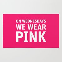 mean girls Area & Throw Rugs featuring Mean Girls #11 – Pink Wednesday by Enyalie