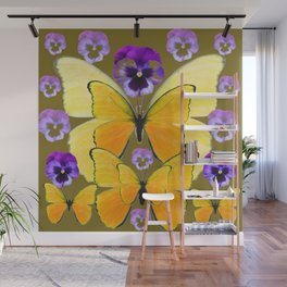 SPRING PURPLE PANSY FLOWERS & YELLOW BUTTERFLIES GARDEN Wall Mural