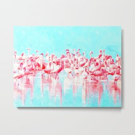 Flamingos tropical illustration Metal Print