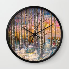 Winter Sunset Landscape Impressionistic Painting With Palette Knife Wall Clock