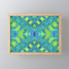 Green and blue geometric abstract motif, hand painted elements Framed Mini Art Print