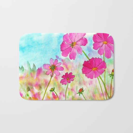 Symphony In Pink, Watercolor Wildflowers Bath Mat