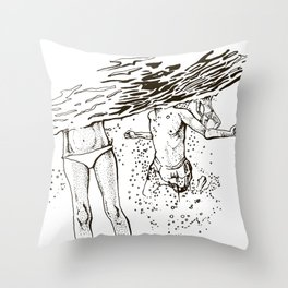 Swimming into the sea Throw Pillow