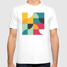 Squares & Curves White MEDIUM Mens Fitted Tee