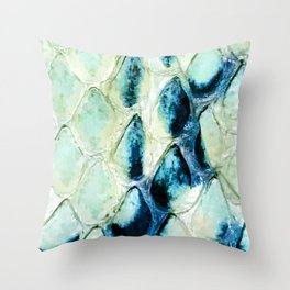 Faux Snakeskin Pattern In Turquoise, Teal And Aqua Throw Pillow
