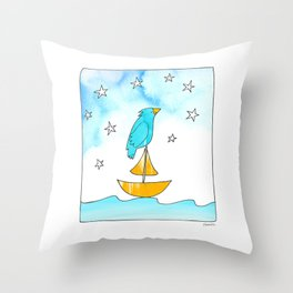 """Bird on a Boat, Dreaming (from the book, """"You, the Magician"""") Throw Pillow"""