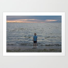 Boy and the Silver Sea Art Print