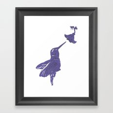 Lavender Hummingbird Papercut Framed Art Print