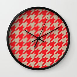 Houndstooth (Brown and Red) Wall Clock