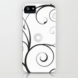 Black and Gray Swirls and Circles iPhone Case