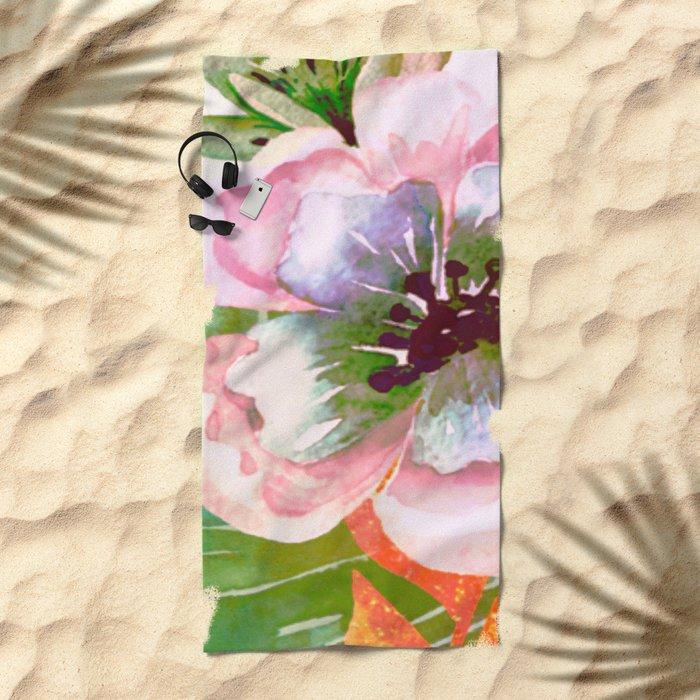 vintage big flower Beach Towel