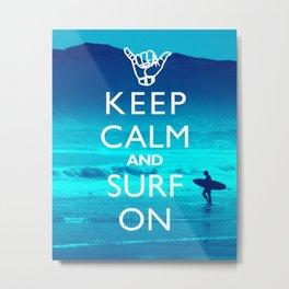 Fun Beach Decor Print - Keep Calm And Surf On Metal Print