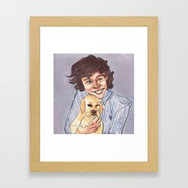 Harry Styles with a Puppy Framed Art Print