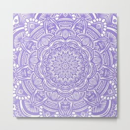 Violet Purple Mandala Detailed Ethnic Tribal Pattern Metal Print