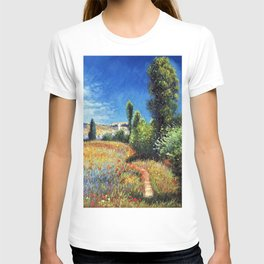 Red Poppies and Landscape on the Ile Saint-Martin by Claude Monet T-shirt