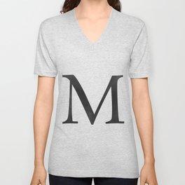 Letter M Initial Monogram Black and White Unisex V-Neck