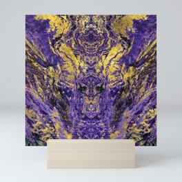 Abstract Amethyst  with gold marbled texture Mini Art Print