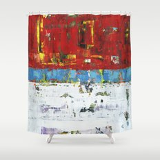 Folly Bright Red White Modern Art Abstract Painting Shower Curtain