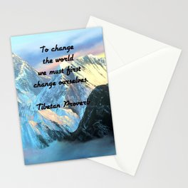 To Change The World Inspirational Tibetan Proverb With Panoramic View Of Everest Mountain Painting Stationery Cards