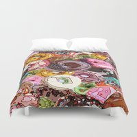 donuts Duvet Covers featuring Donuts by Tina Mooney
