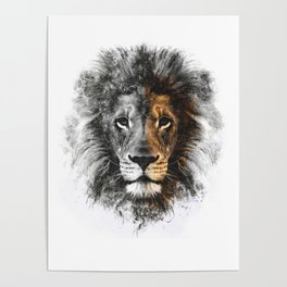 Lion Face Painting Poster