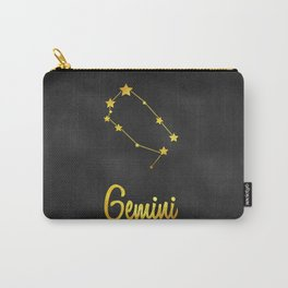 Gemini Zodiac Constellation in Gold Carry-All Pouch