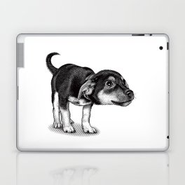 Cute cautious puppy wagging it's tail. Laptop & iPad Skin