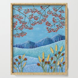Winter Mountain Colorful Fields Serving Tray