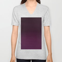 Burgundy purple hand painted watercolor ombre Unisex V-Neck