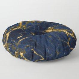 Indigo Blue Marble with 24-Karat Gold Veins Floor Pillow