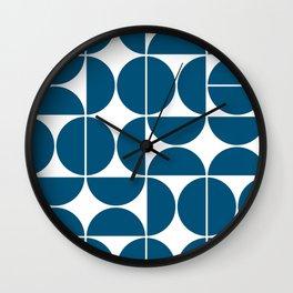 Mid Century Modern Geometric 04 Blue Wall Clock