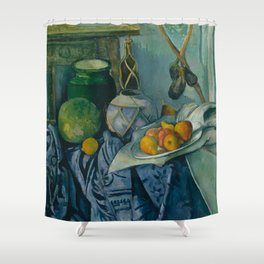 "Paul Cezanne ""Still Life with a Ginger Jar and Eggplants"" Shower Curtain"