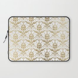 Elegant vintage white faux gold floral boutique damask Laptop Sleeve