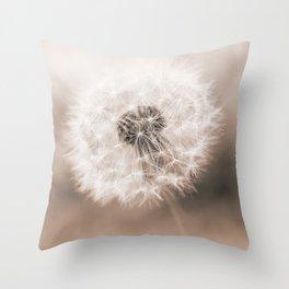 Spring Dandelion in Sepia Throw Pillow