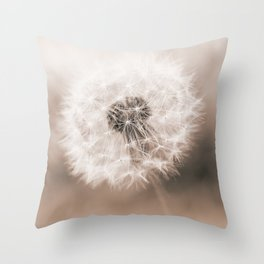 Spring Dandelion in Sepia Throw Pillow