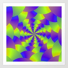 Yellow and Purple Spiral Art Print