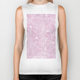 Modern trendy white floral lace hand drawn pattern on mauve pink lavender Biker Tank
