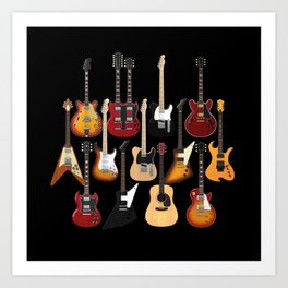 Too Many Guitars! Art Print