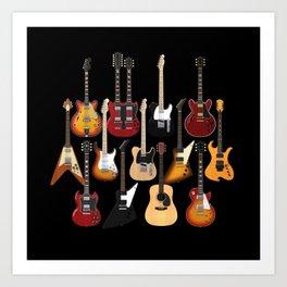 Too Many Guitars! Art Print