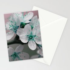 Pretty Spring Blossom Teal Blue Green Stationery Cards