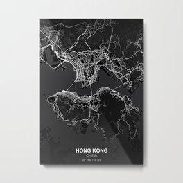 Hong Kong city map black Metal Print
