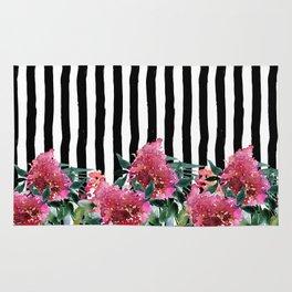 Black white brushstrokes pink watercolor floral stripes Rug