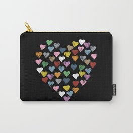 Distressed Hearts Heart Black Carry-All Pouch