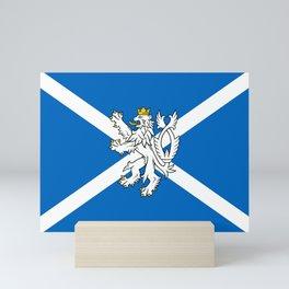 Blue and White Scottish Flag with White Lion Mini Art Print