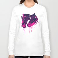 sneakers Long Sleeve T-shirts featuring Love my dirty sneakers by Cindys