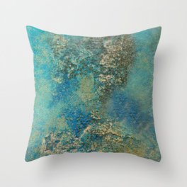 Blue And Gold Modern Abstract Art Painting Throw Pillow