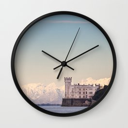 Miramar Castle with Italian Alps in background. Trieste Italy Wall Clock