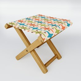 Mid Century Modern Abstract Star Pattern 441 Orange Brown Turquoise Chartreuse Folding Stool